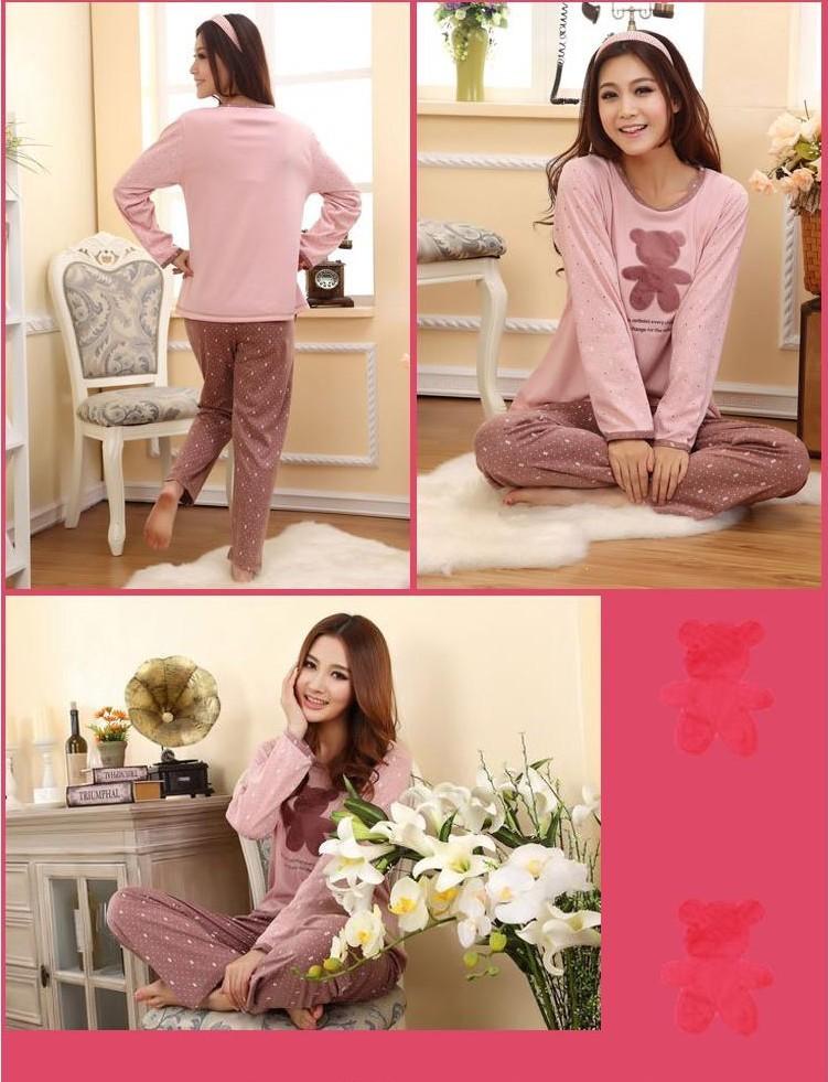 новые наборы пижамы хлопка женщин / женщин пижамы прекрасный мультфильм пеньюар девушка пижамы женщин ночной рубашке