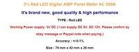 Измеритель величины тока 3 1/2 Red LED Digital AMP Panel Meter + Shunt AC 200A