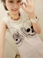 Woman sleeveless T-shirt Skeleton head tee free shipping