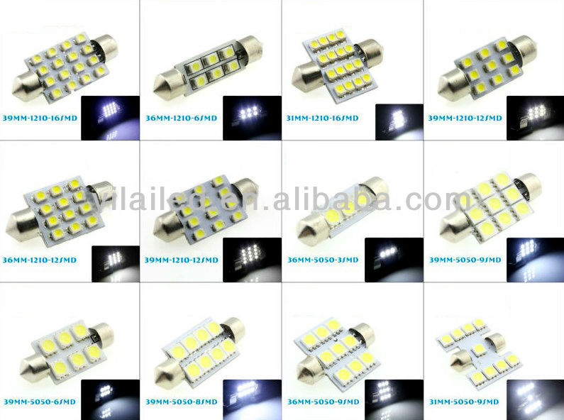 Super Bright White 9-SMD LED Dome/Map Light with T10 and Festoon Adapt...