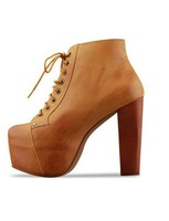 Ladies 4 Color Lita platforms high heels Lace Up Ankle shoes boots 5 5.5 6 6.5 7