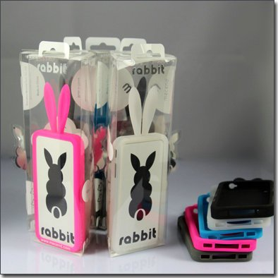 Wholesale Rabito/Rabbit silicone mobile phone case cover for iphone 4g 4s with tail and retail box,free shipping