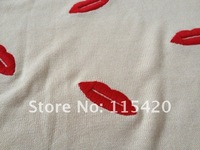 2012 Women's Three Quarter Sleeve  O-neck Embroidery Red  Lips Pullover Sweater  ASOS STYLE