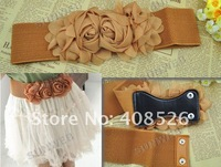 Женские ремни и Камербанды Elastic Belt Women Cute Waistband Waist Multicolor Fashion lady's Flower Double Rose Buckle Belt 5colors 3186