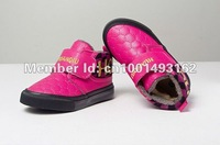 free shipping cotton shoes children PU leather flats velcro tight