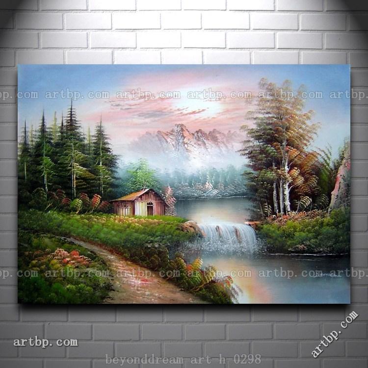 Cottage en el lado de estanque pequeña cascada pintura al ...