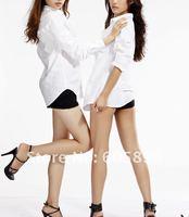 Одежда и Аксессуары 2011 new Fall Boyfriend's white women shirts sexy street wears white and black color XS~L size Casual shirts