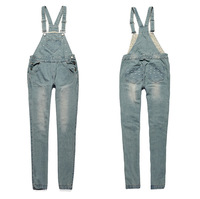 Женский джинсовый комбинезон Wild Siamese trousers can be heart-shaped embroidery loose jeans overalls 8030