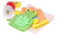 Merry Christmas! Exfoliating Glove Shower Mitt Remove Frog and Orange Color Bath Scrub Exfoliate Exfoliation JHB-137