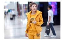 Женские толстовки и Кофты & Korean design Women leisure sports Hoodie set lady Three-piece thickening sweater sports hoodie suit