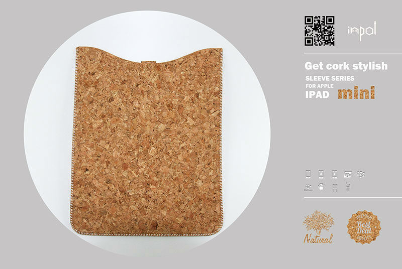 2013 TOP rated natural color cork cases and covers for ipad mini