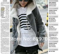 Hot sales Black/grey NEW women's Hoodies Coat Zip Up long top pullover  Size M L XL Black,Gray Free Shipping