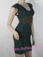 [NWT]New Hot Sale Cheryl Cole Celeb Same Style GREEN Embroidery Pattern Bodycon HL Bandage Dress,Women Clubwear Party Dresses