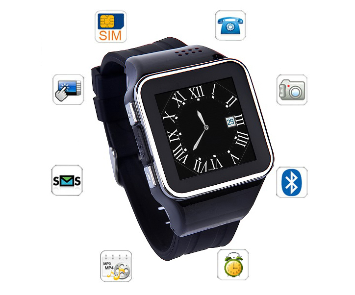 Smart build-in SIM card watch Mobile phone with dual bluetooth