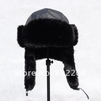 NEW DESIGN FASHION  WIND PROOF WINTER TRAPPER HAT RUSSIAN HAT  BLACK COTTON WINTER WARM FUR  WOMEN/MEN HAT WITH FREE SHIPPING