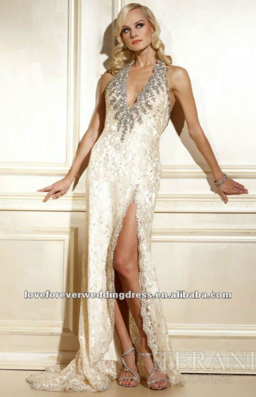 Draping Column Richly Lace 2012 New Design Ladies Dress