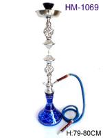 Free shipping!HM-1069 79-80 cm single-barrelled blue hookah & shisha narghile Smoking Pipe Sheesha Glass Hookah