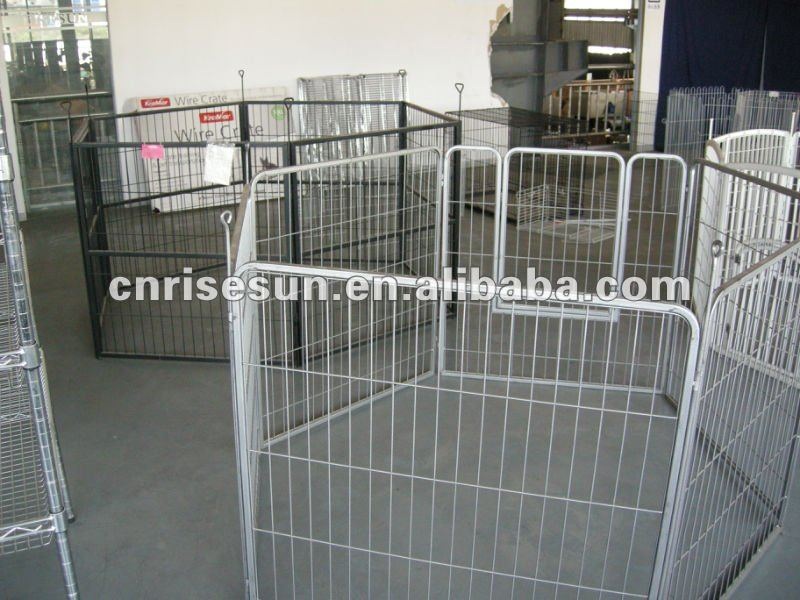 large white -coated large metal dog kennel 6 Panels