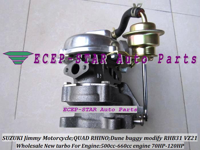 RHB31 VZ21 Turbocharger For SUZUKI Jimmy 500cc-660cc engine MOTORCYCLE QUAD RHINO Dune buggy modify 70HP-120HP (5)