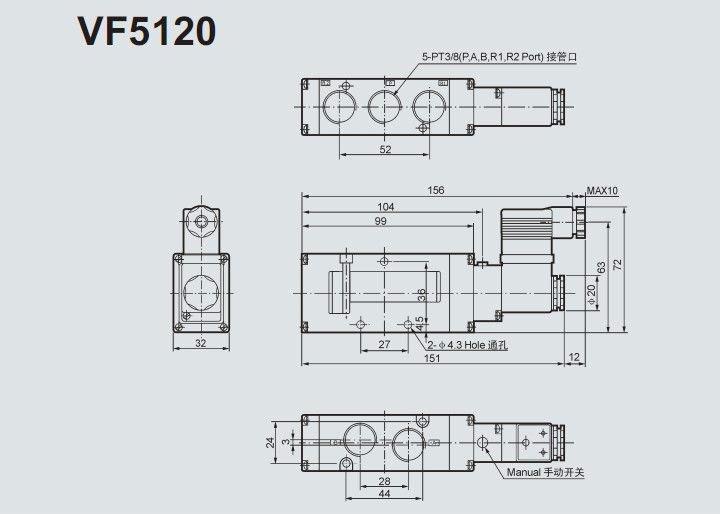 VF 5120 5220 solenoid valve ( SMC type) 12 v, 24 v,110 v, 220 v