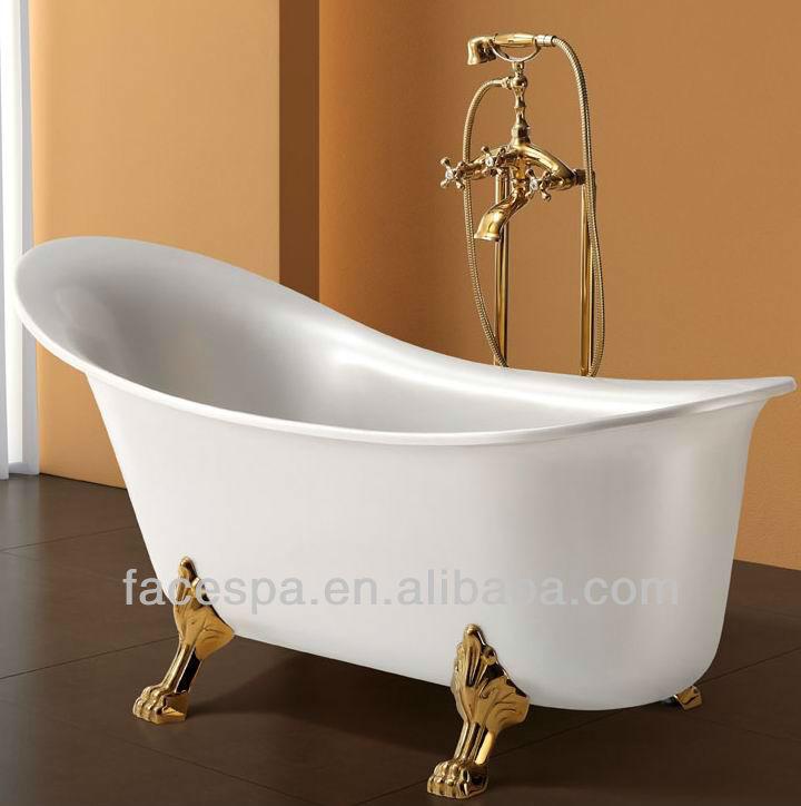 bathtub fs 065 with golden faucet and tiger legs view mini bathtub fspa pro. Black Bedroom Furniture Sets. Home Design Ideas