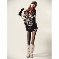 Корея женщин Тигр печатных batwing трикотажные топы пуловер свитер джемпер случайные [040469