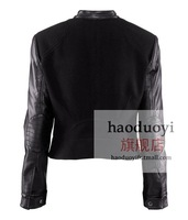 Женская одежда из кожи и замши black suede jacket for long sleeve with black pu patchwork and front zipper decoration for epacket and china post