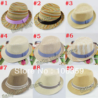 Шапка для мальчиков Baby Kids Children's Caps Accessories Hat Boys Girls Hats Baby Fedora Hat with Belt Checked Kids Jazz Cap Dicers 10pcs