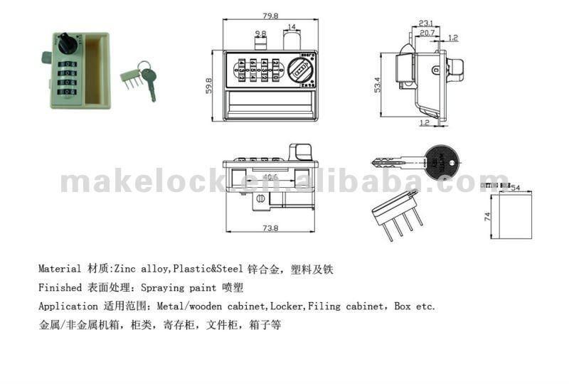 MK706 4 digital combiantion locker lock