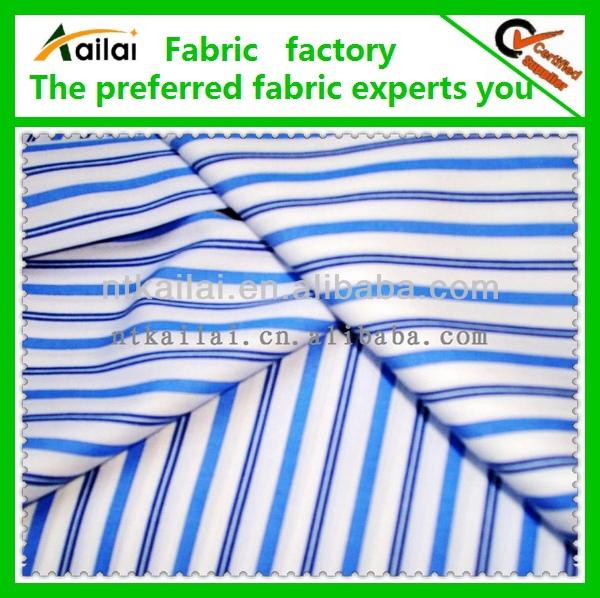 blue white cotton plain stripe fabric