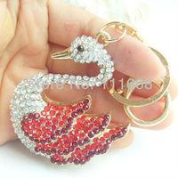 Брелок Charming Swan Key Chain w Clear & Red Rhinestone crystals KLTTE001C1