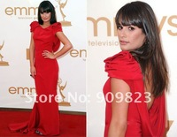Платье знаменитостей 2011 Emmy Awards Lea Michele Bateau Neck Ruffles Short Sleeves Open Back Mermaid Celebrity Dresses