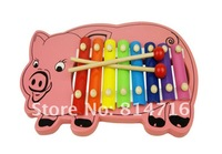 Free shipping mini Piggy 8 tone wooden xylophone baby musical toy