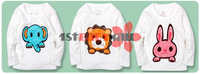 Рубашка для мальчиков 12pcs cartoon T-shirt baby boys/girls' Tees Lion/Elephant/Rabbit blouse long sleeve T-shirt baby clothing jacket