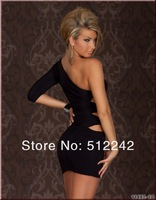 Женское платье GOGO Sexy One Sleeve One Arm Mini Club Dress High Quality 2551 Black /Rose/Blue
