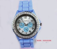 Наручные часы holiday sale Muliti Colors Light Purple Silicone Full Crystal Watch Women Fashion Jelly Watch GV003-4