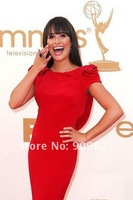 2011 Emmy Awards Lea Michele Bateau Neck Ruffles Short Sleeves Open Back Mermaid Celebrity Dresses