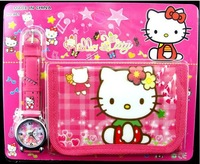 Наручные часы New children watches Hello Kitty cartoon girl's Wristwatch and wallet purse kids lovely watch