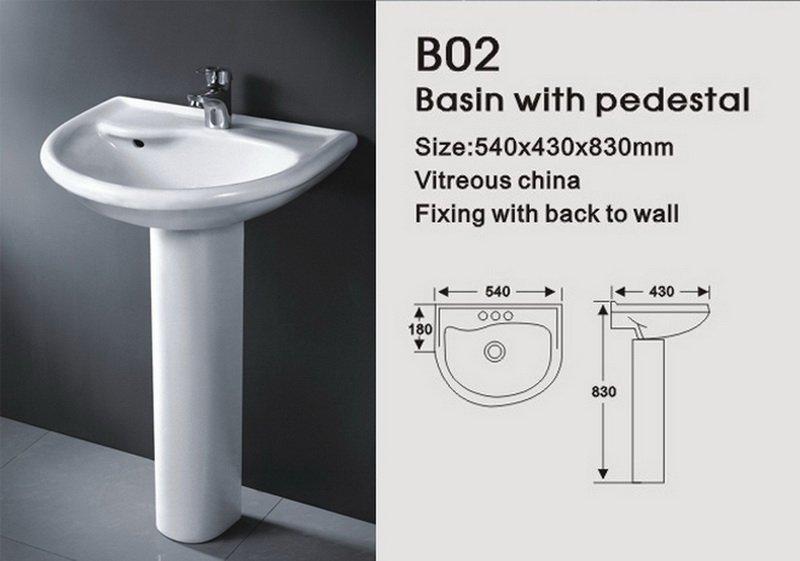 Pi destal bassin et lavabo b02 lavabo de salle de bain id for Lavabo sur pied salle de bain