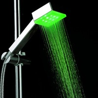 7 Color Changing RGB LED Shower Head 9 LED Shower Temperature Controlled ABS+ Chroming No Need Power H4724