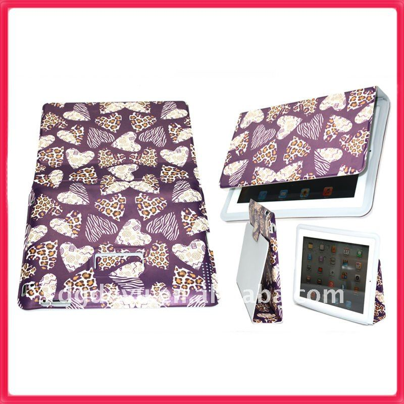 Pu slim leather case for ipad 2 - purple