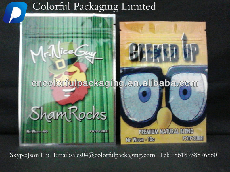 Smacked Herbal Incense Bags Foil Ziplock Bag for Spice Smoke Herbal Incense
