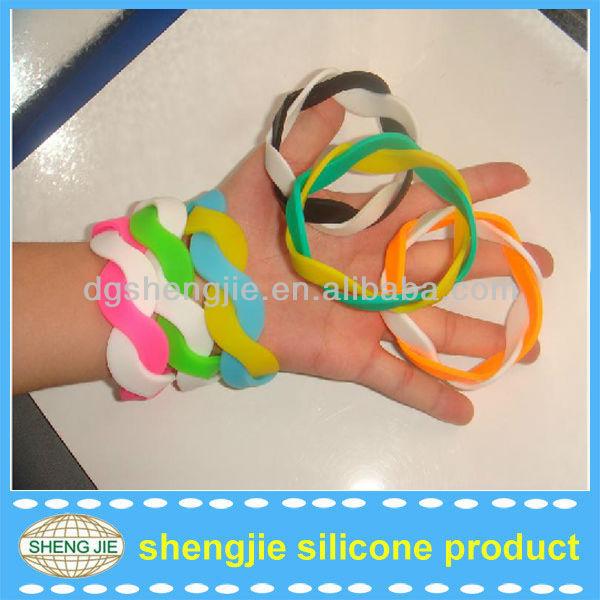 Doublet color Rubber Twist Silicone Bracelet/wristband silicone/Double colors Silicone Wristband
