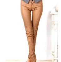 Free Shipping 2013 Fashion Autumn Winter  brand PU leather trousers Women's Warm Leggings Tight Pants