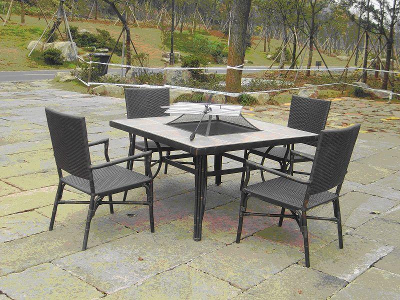 Mobilier ext rieur en aluminium 7 pc ensemble table en for Table exterieur galvanise