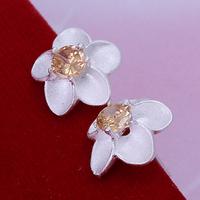 элегантных женщин ювелирные украшения 925 серебряные серьги желтые topas кубический цирконий серьги для женщин Е235