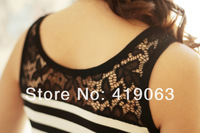 Женский топ New Summer Fashion Sexy Lace Collar Black And White Stripe Modal Vest Modal Tank & Camis Women's Tank Tops Camisole 1653