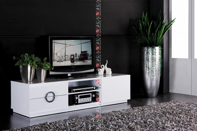 meuble tv san francisco laque blanc brillant ~ idées de décoration ... - Meuble Tv Design Pas Cher Blanc