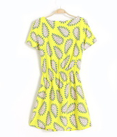 Женское платье New Women's Chiffon Dress/ Cute and Print Princess Dress s
