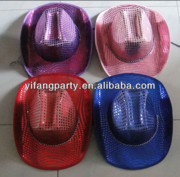 colorful big sequin cowboy party hats